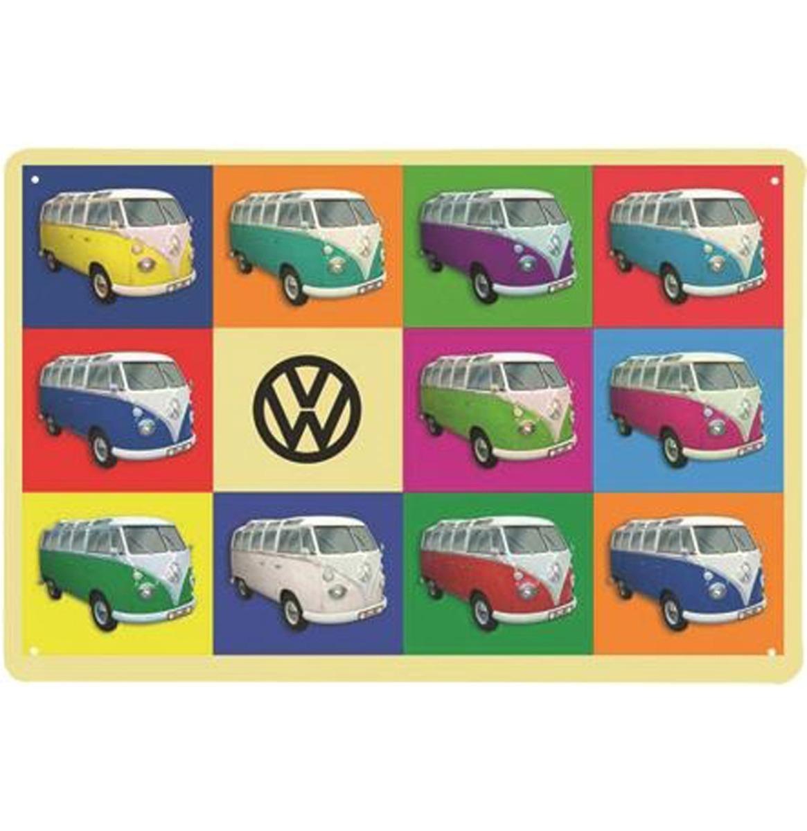 Volkswagen Bus Metalen Bord 20 x 30 - Veelkleurig