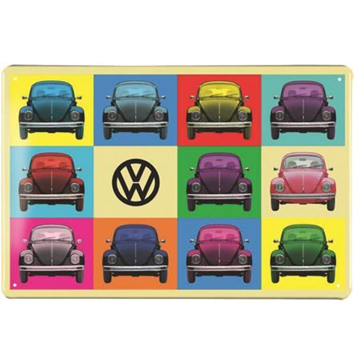 Volkswagen Beetle Metalen Bord 20 x 30 - Veelkleurig
