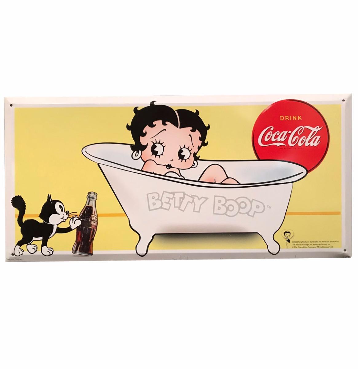 SUPER-DEAL: Betty Boop in Bad - Coca-Cola Metalen Bord 45 x 21,5 cm