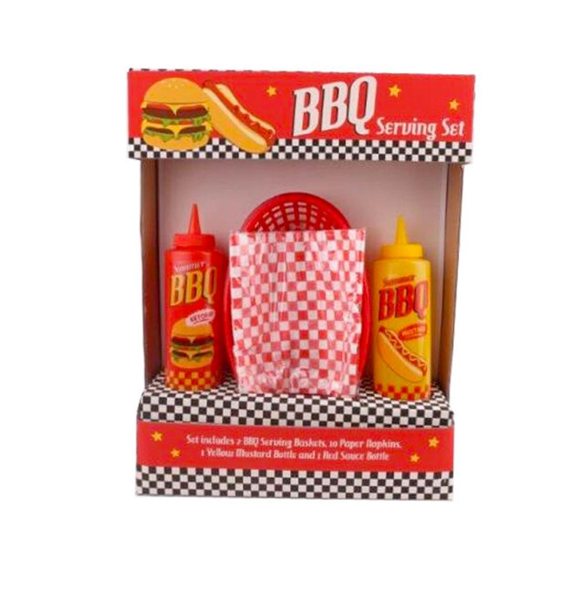BBQ Serveer Set Met Mandjes En Ketchup Mosterd Saus Flessen