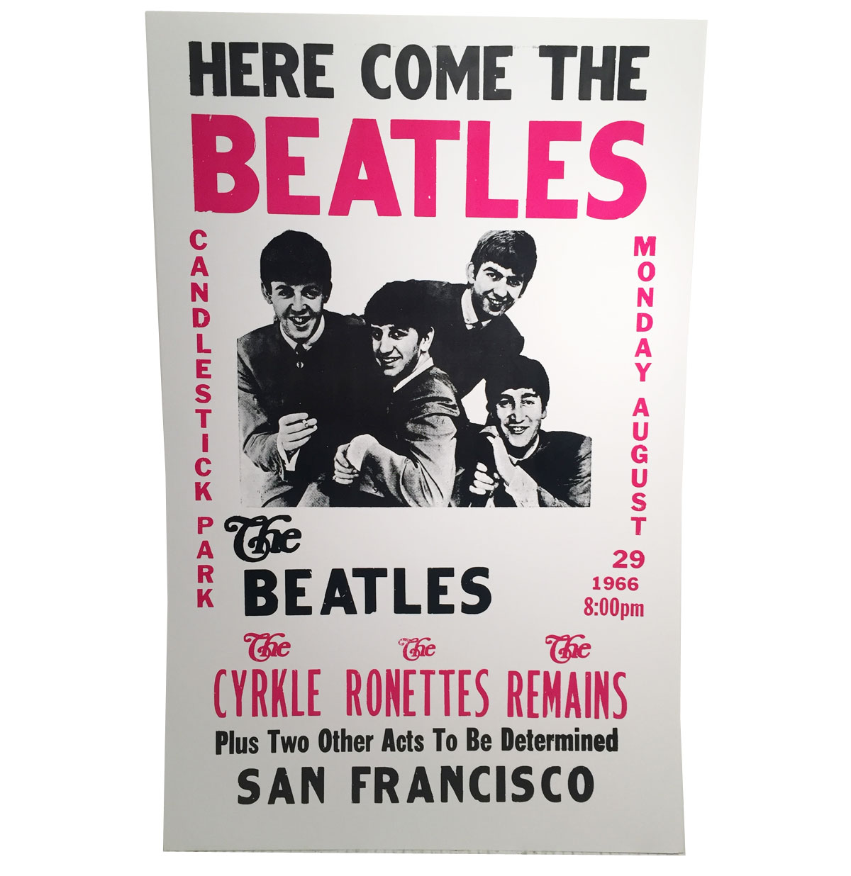 Here Come The Beatles Candlestick Park San Francisco Replica Poster