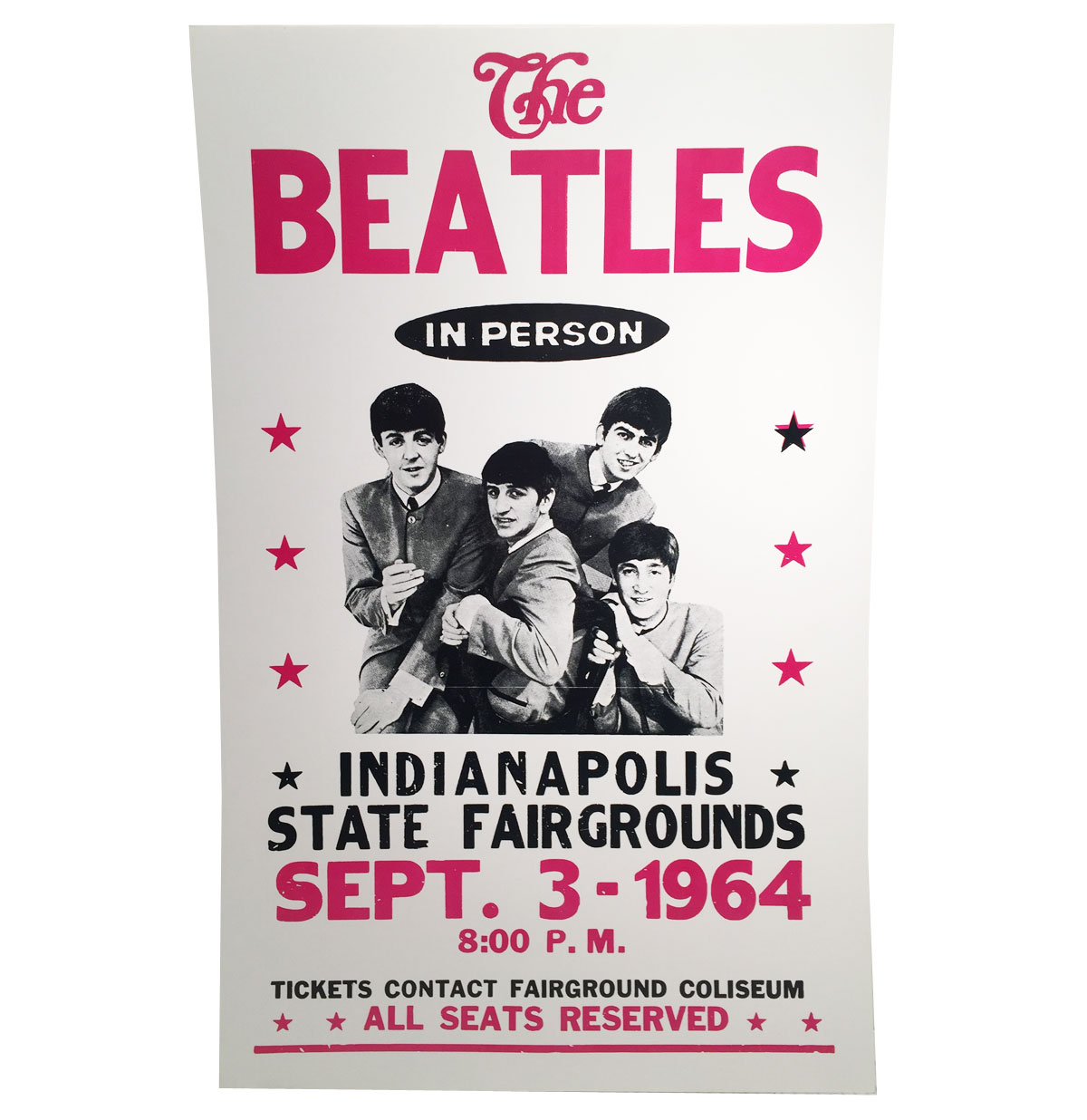 The Beatles In Person Indiana State Fairgrounds Replica Poster