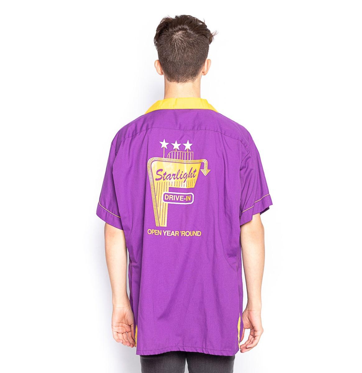 Bowling Shirt Starlight Drive In Paars/ Geel (Gebruikt)