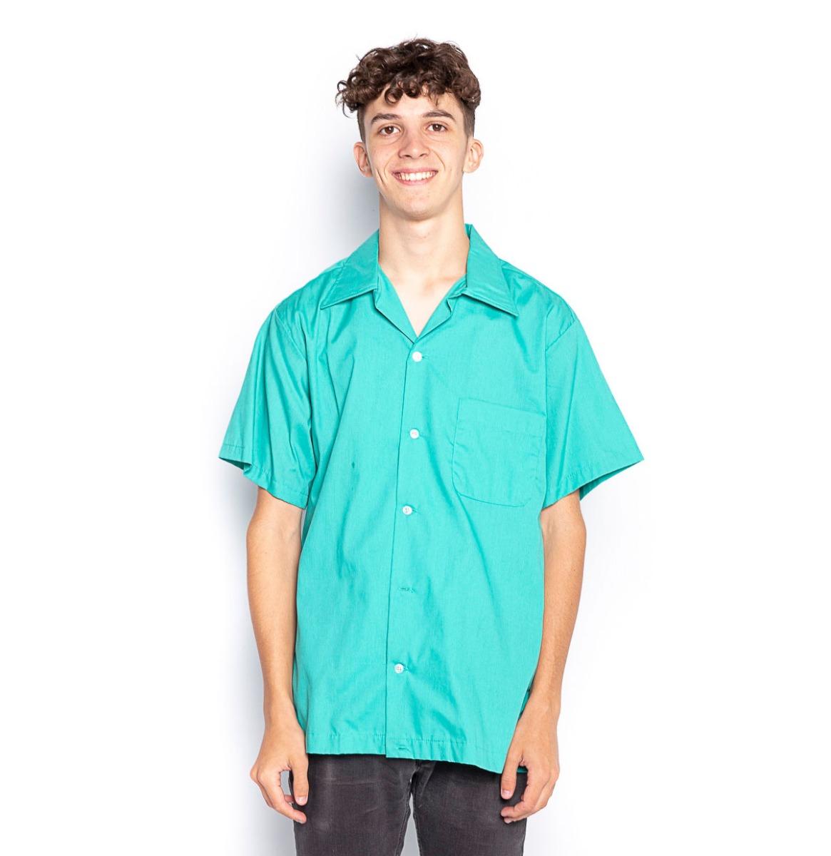 Bowling Shirt Plain Turquoise - Large (Gebruikt)