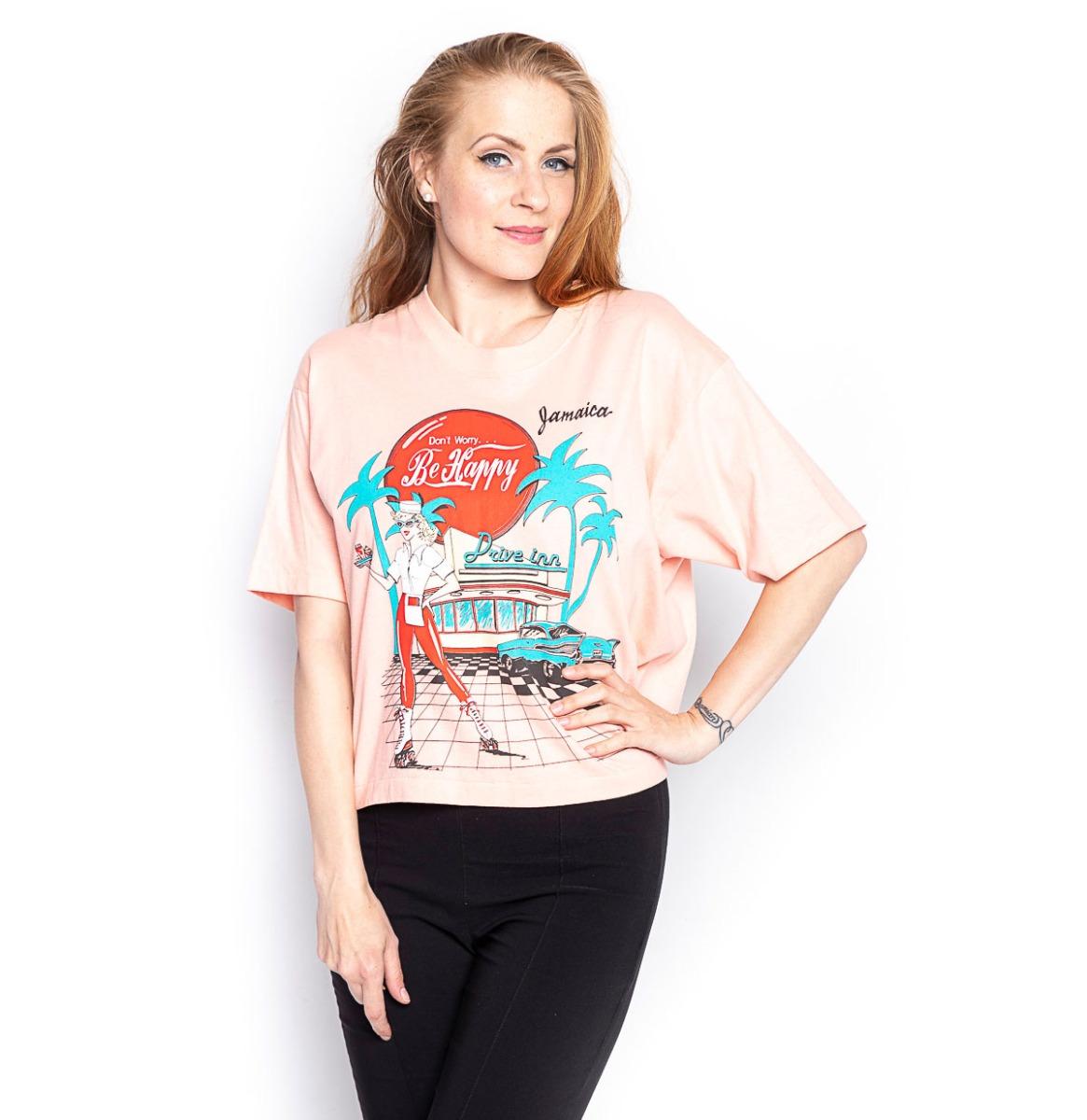 Vintage Be Happy Shirt Roze - One Size