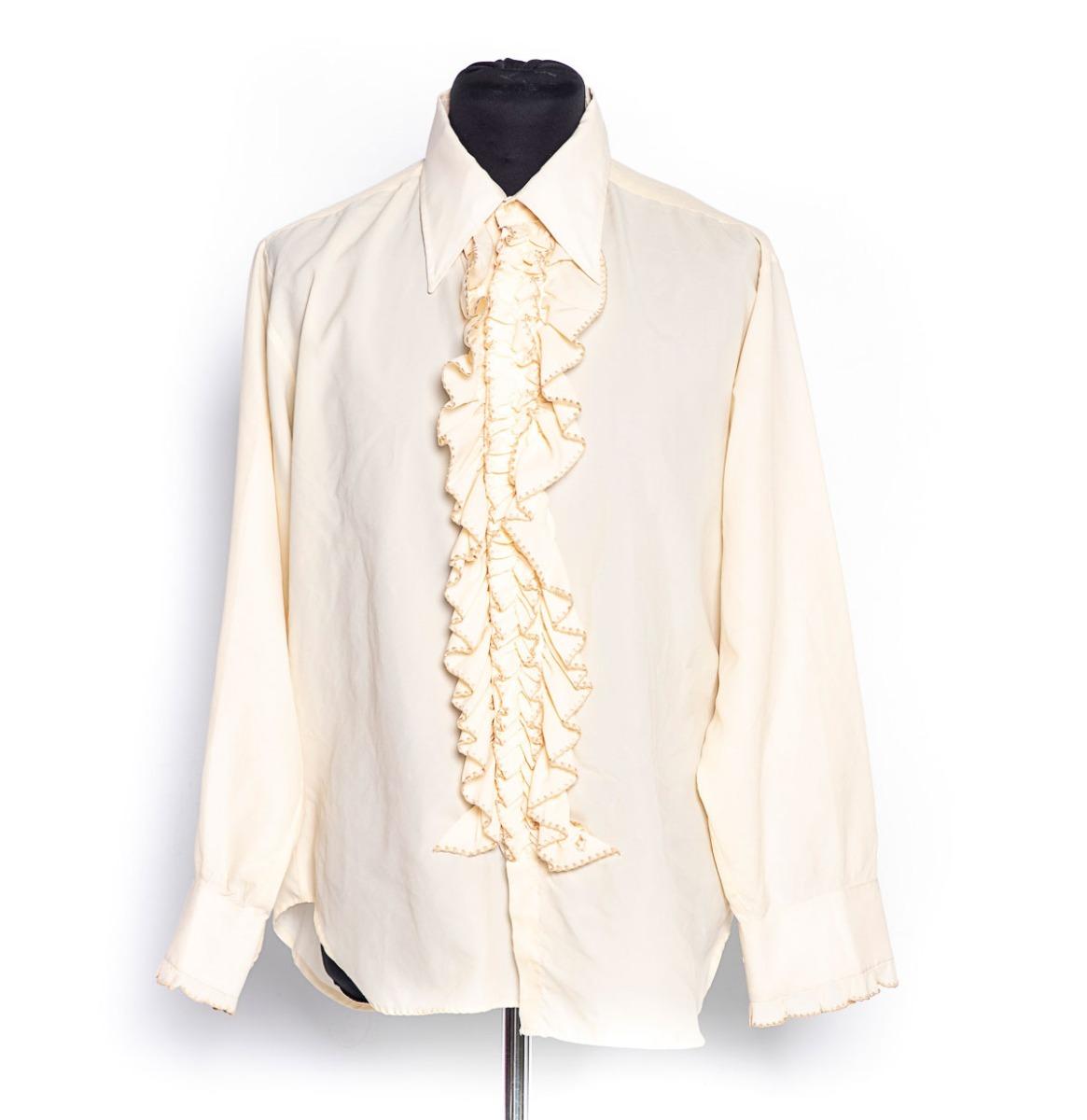 Vintage 60's/70's Beige Nylon Shirt Met Ruches