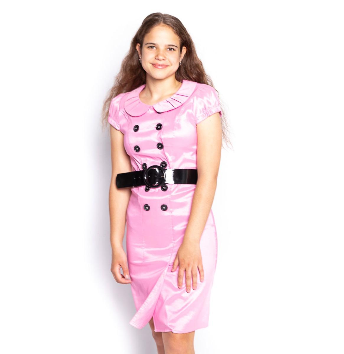 Vintage Roze Jurk Met Knopen - M