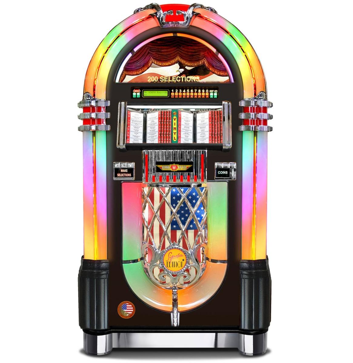 Rock-Ola Bubbler 200 Selecties 45 Toeren Vinyl Jukebox Zwart - Bennies Fifties Signature Editie UPGR