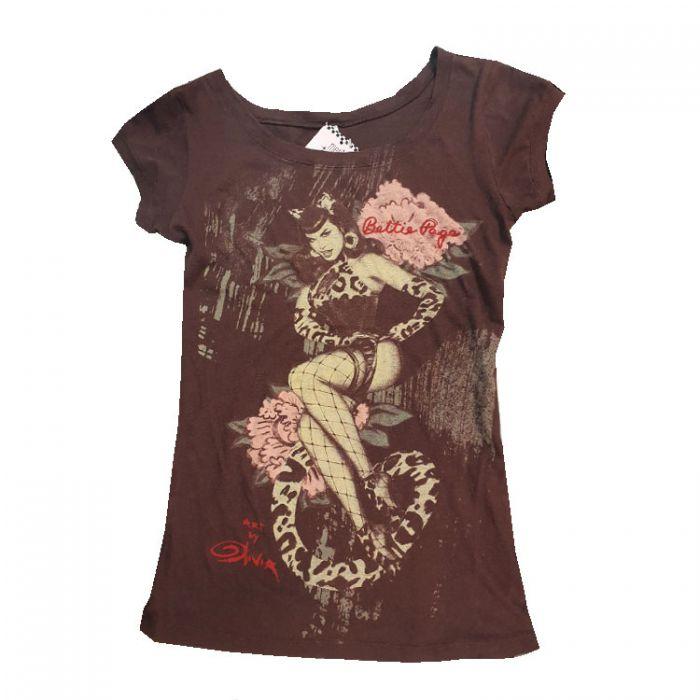 Bettie Page Leopard T-shirt Bruin