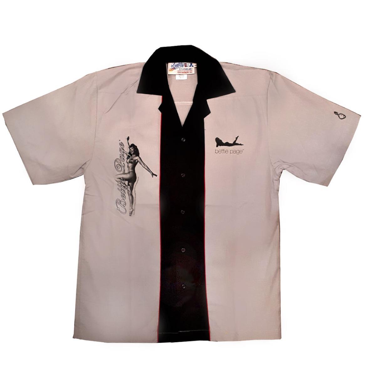Bettie Page Bowling Shirt Grijs - Zwart