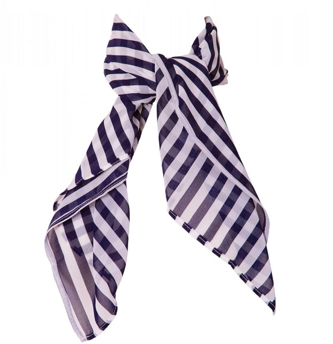 Bettie Scarf Blue - White Stripes