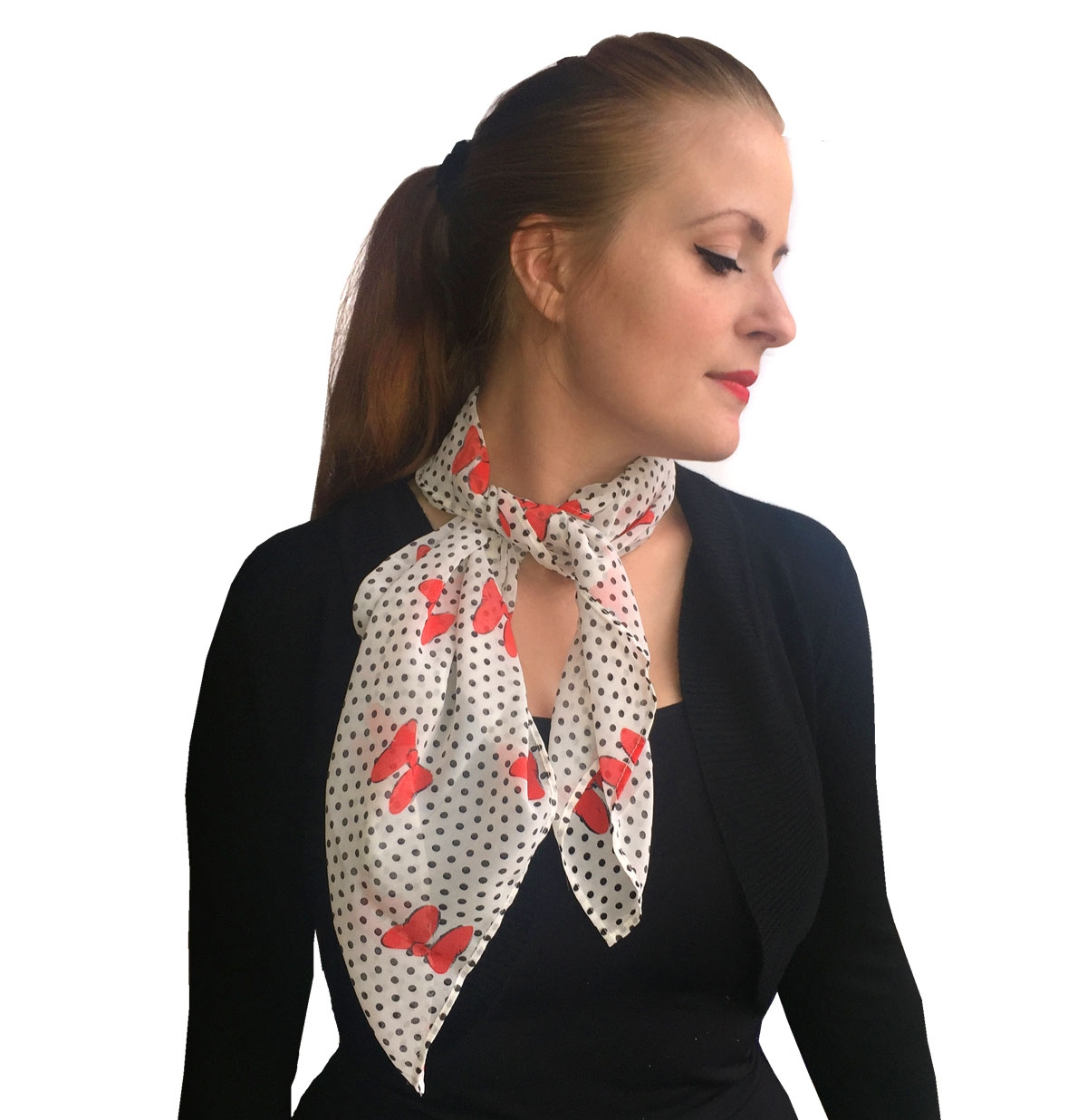 Bettie Scarf White, Red Bows / Black Dots