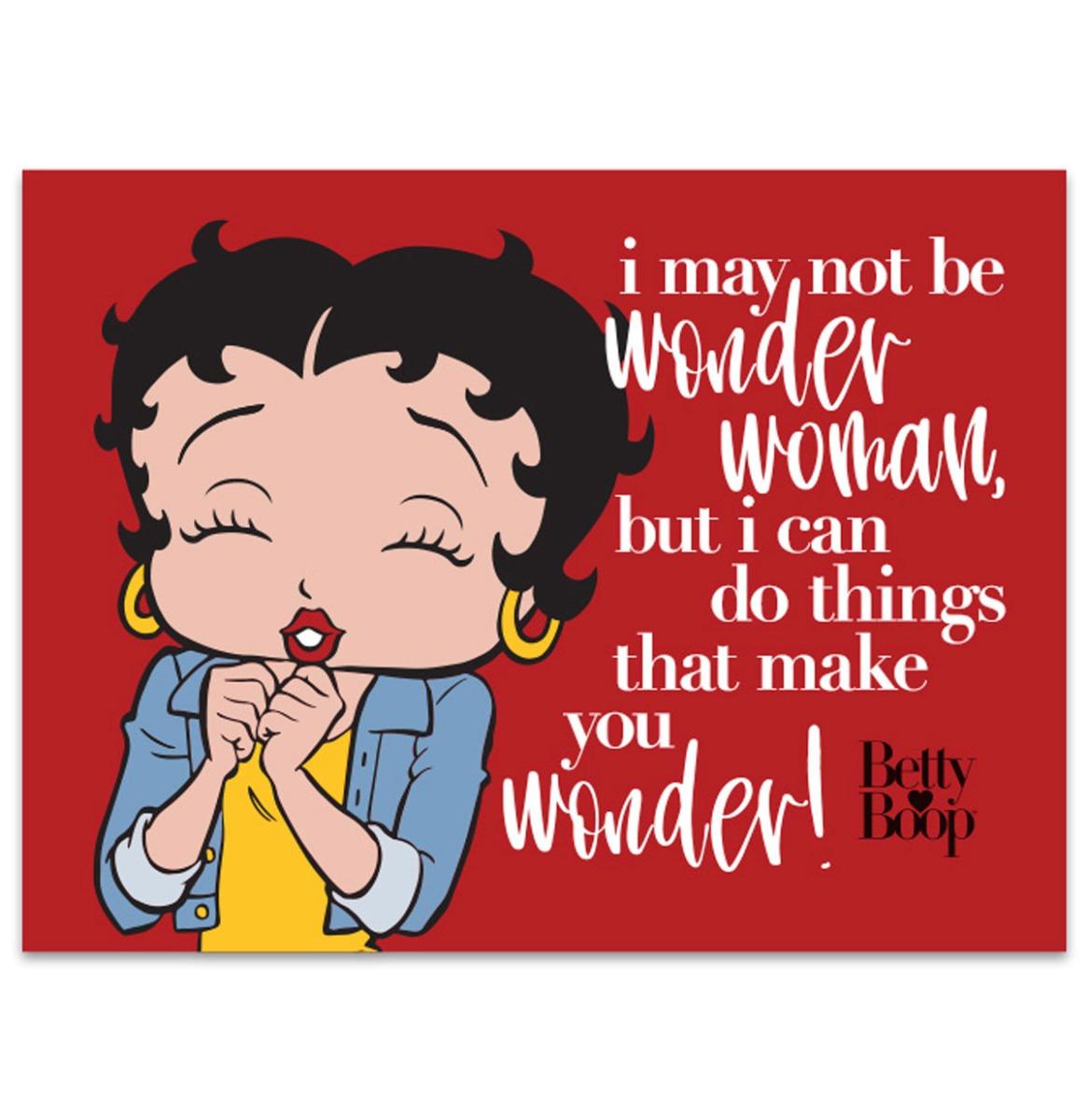 Betty Boop Make You Wonder - Metalen Bord Met Reliëf - 43 x 31 cm