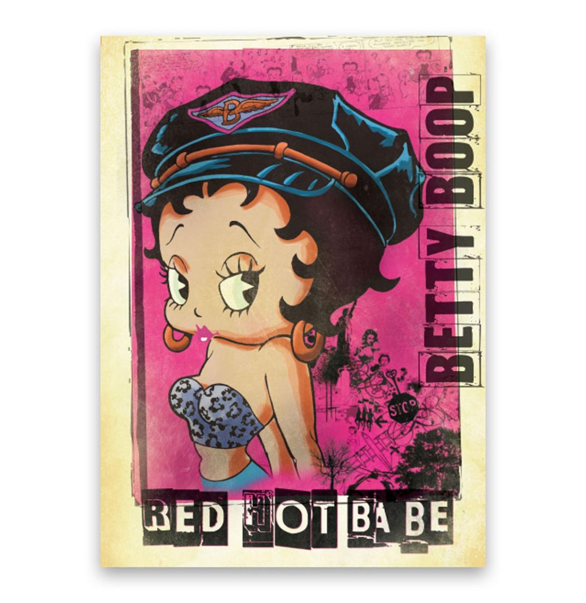 Betty Boop Red Hot Babe - Metalen Bord Met Reliëf - 43 x 31 cm