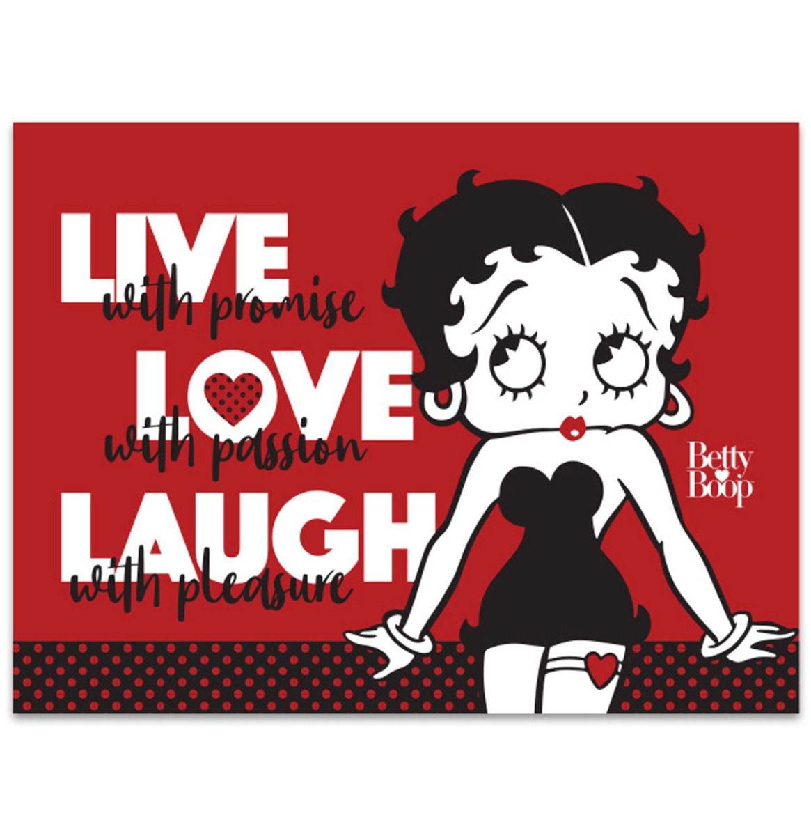 Betty Boop Live Love Laugh - Metalen Bord Met Reliëf - 43 x 31 cm