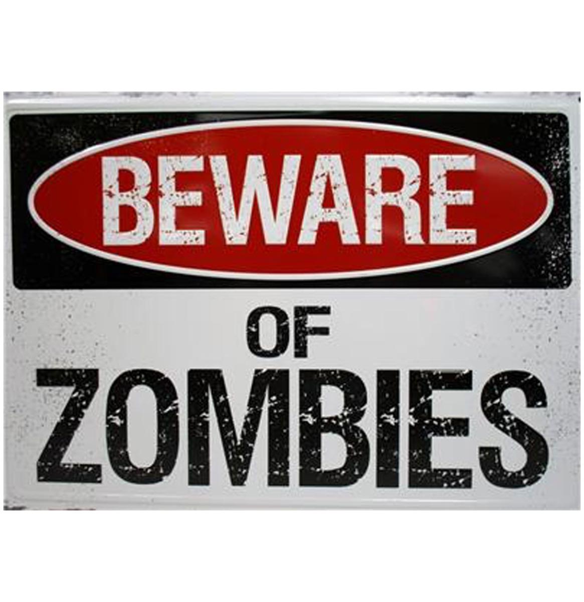 Beware Of Zombies - Metalen Bord Met Reliëf - 43 x 31 cm