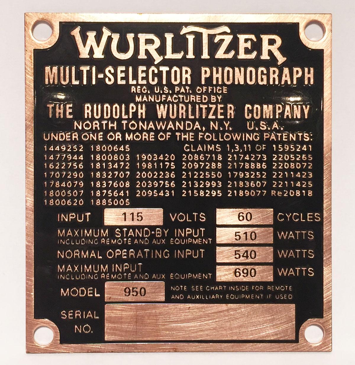 Wurlitzer 950 Brass Typeplaatje Achterzijde Jukebox