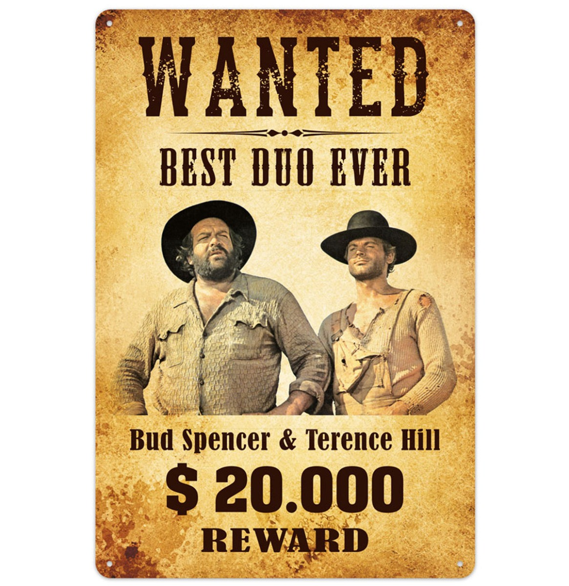 Bud Spencer Terence Hill Best Duo Ever 20.000 Reward Metalen Bord 20 x 30 cm