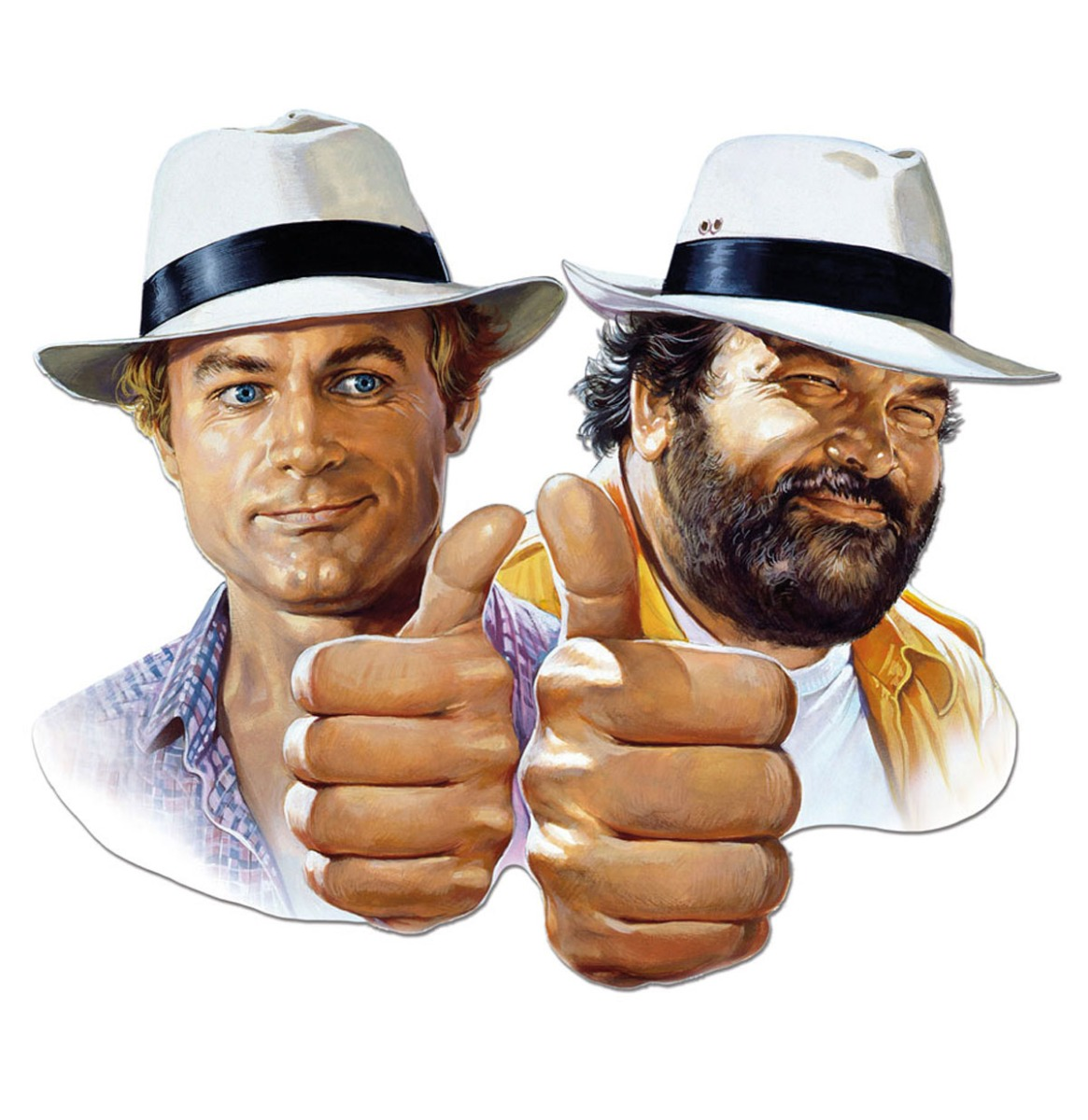 Bud Spencer Terence Hill Thumbs Up Metalen Bord 45 x 45 cm