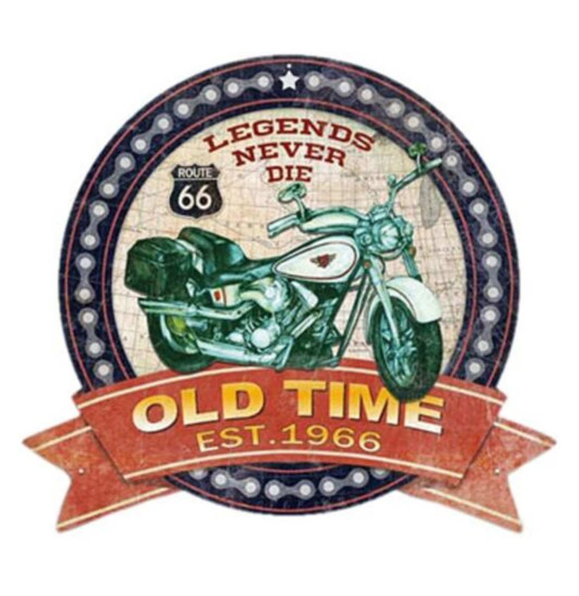 Route 66 Legends Never Die Old Time Cut Out Metalen Bord 39 x 35 cm