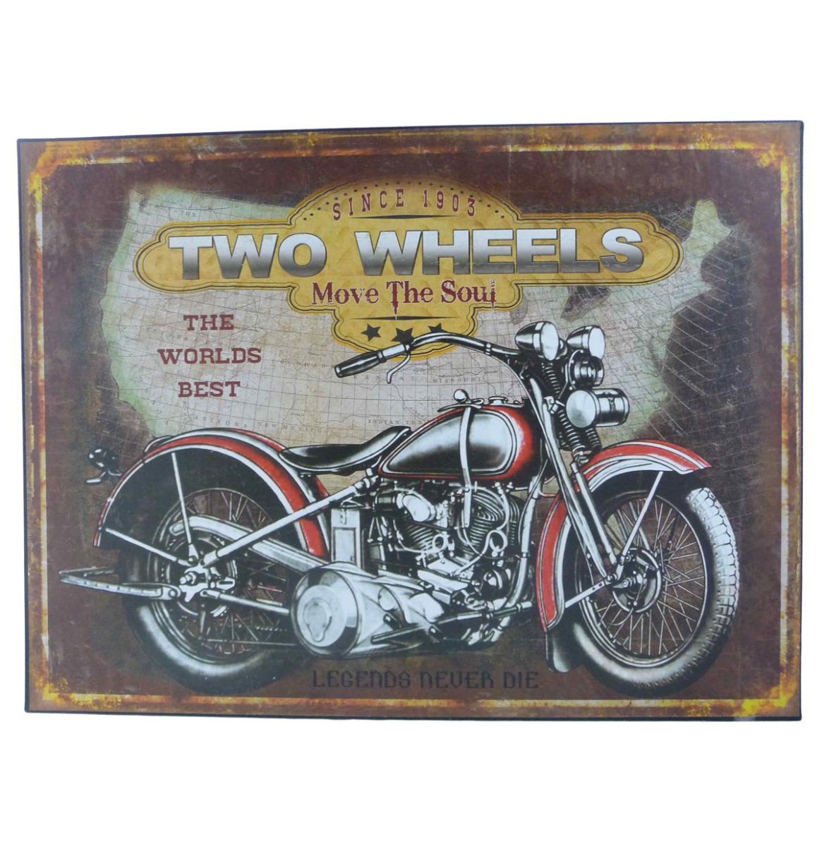 Biker Two Wheels, Move The Soul Stalen Bord 30 x 40 cm