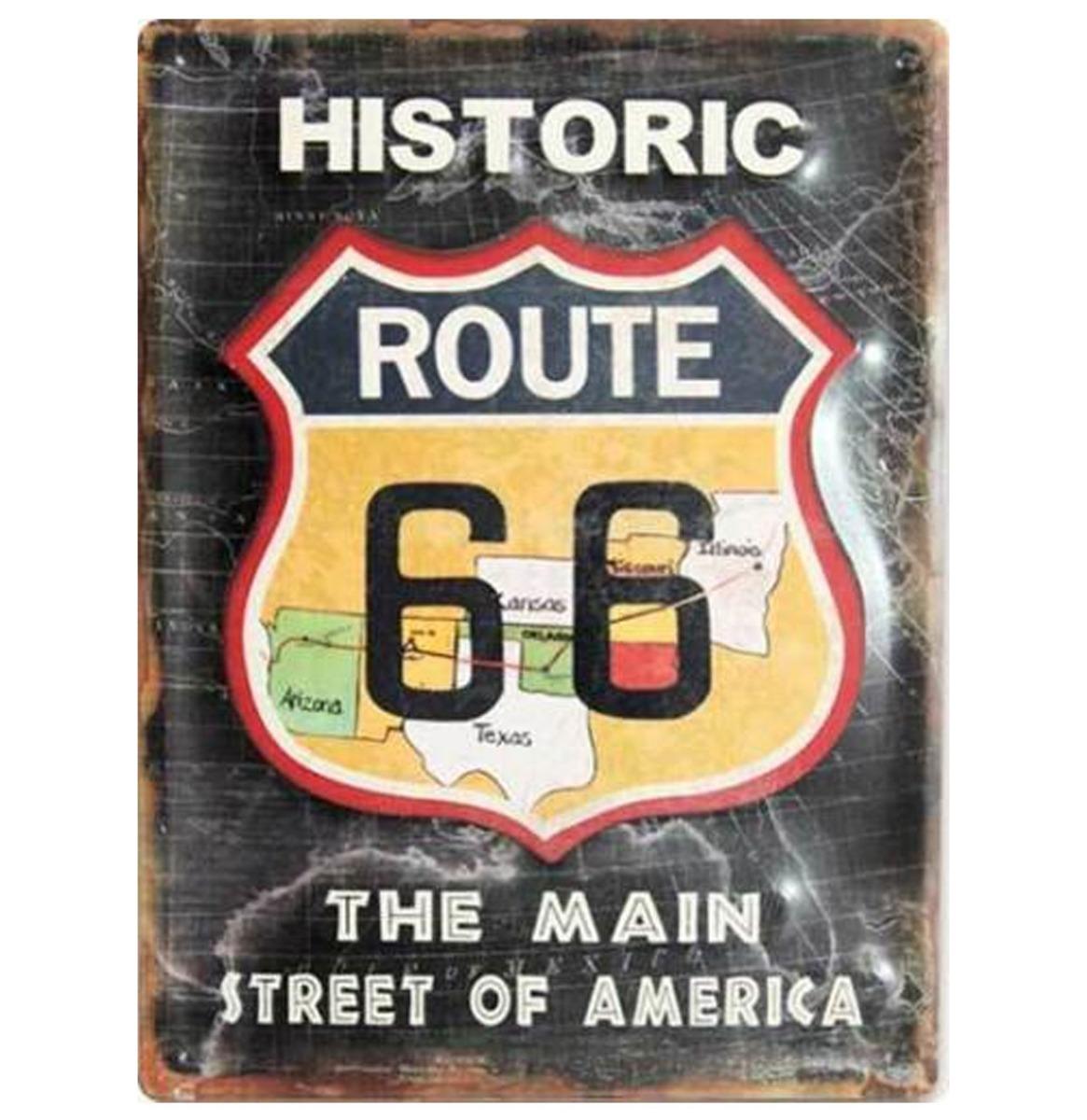 Historic Route 66 Main Street Of America Stalen Bord Met Relief 30 x 40 cm