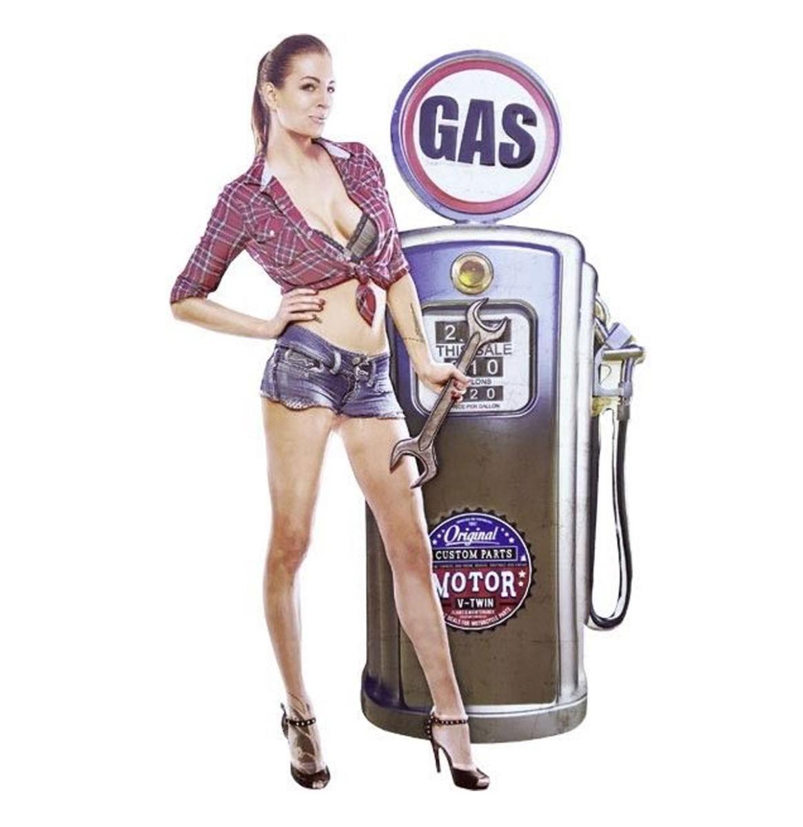 Pin-up Gas Pump Garage Metalen Bord Met Relief XXL 56 x 85 cm