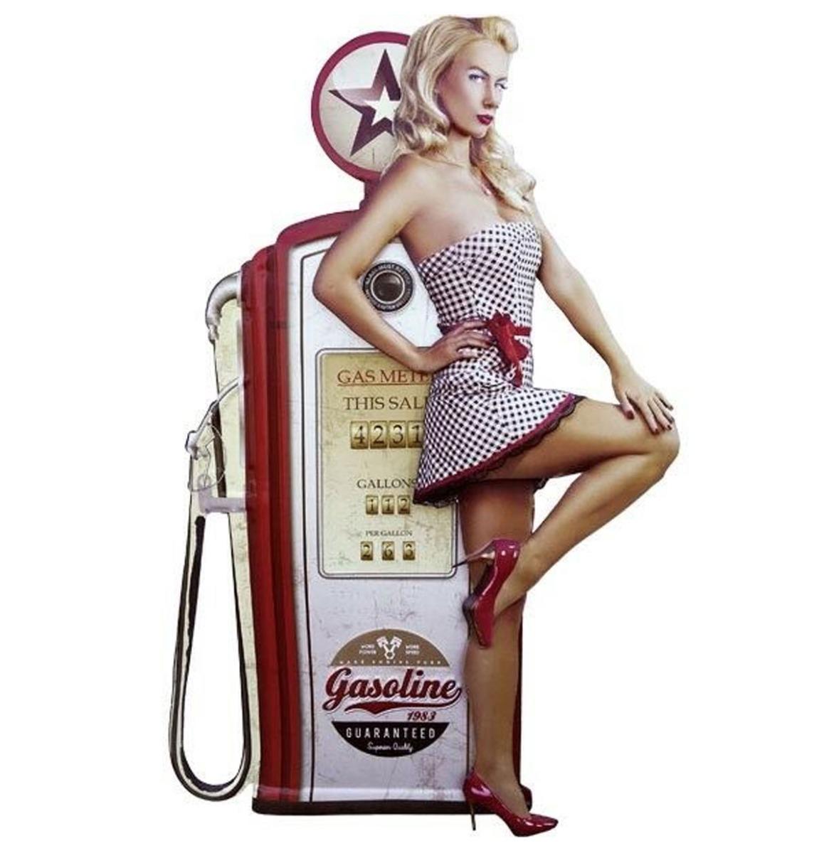 Pin-up Gas Pump Garage Gasoline Metalen Bord Met Relief XXL 55 x 83 cm