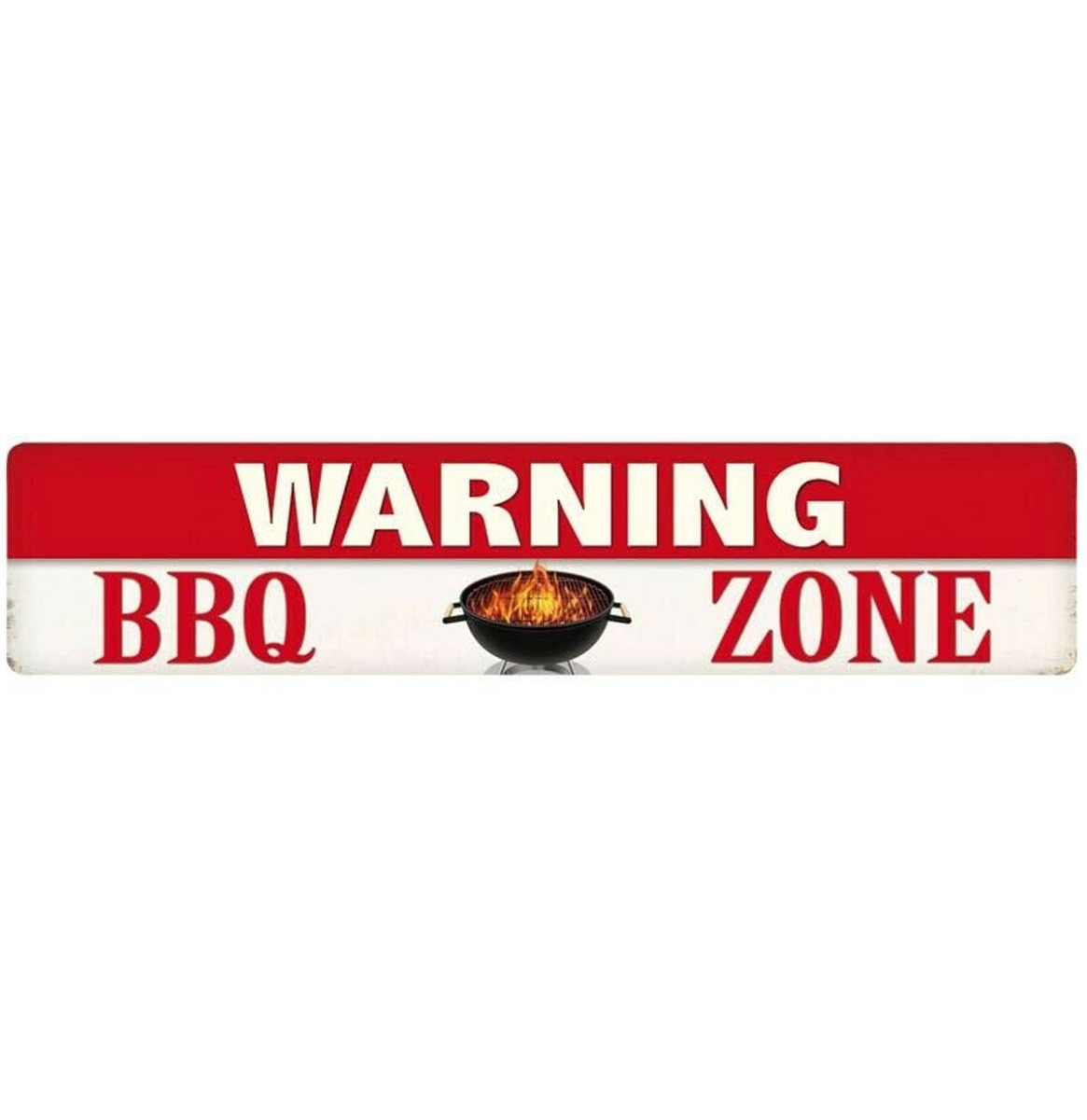 Warning BBQ Zone Metalen Bord 46 x 10 cm