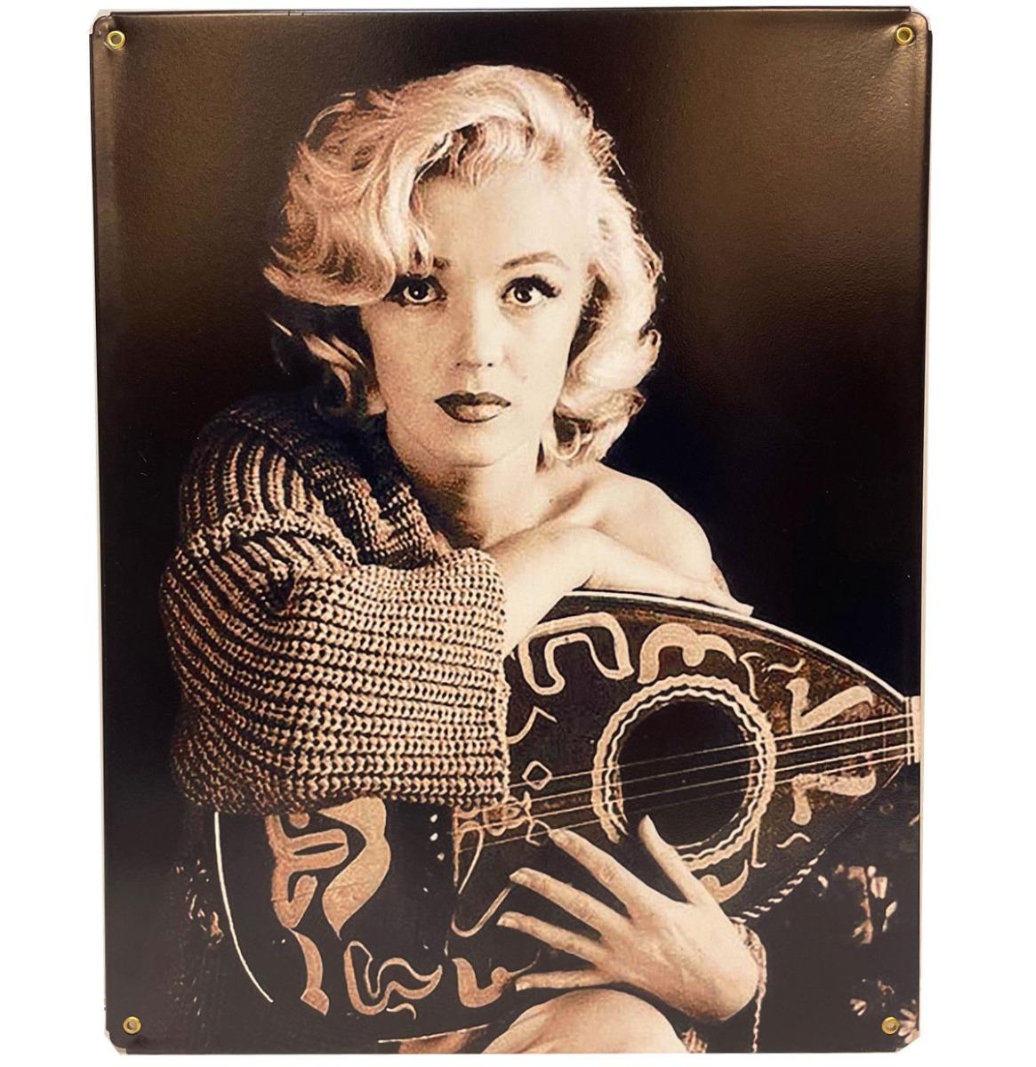 Marilyn Monroe Met Mandolin - Metalen Bord 29.5 x 37 cm