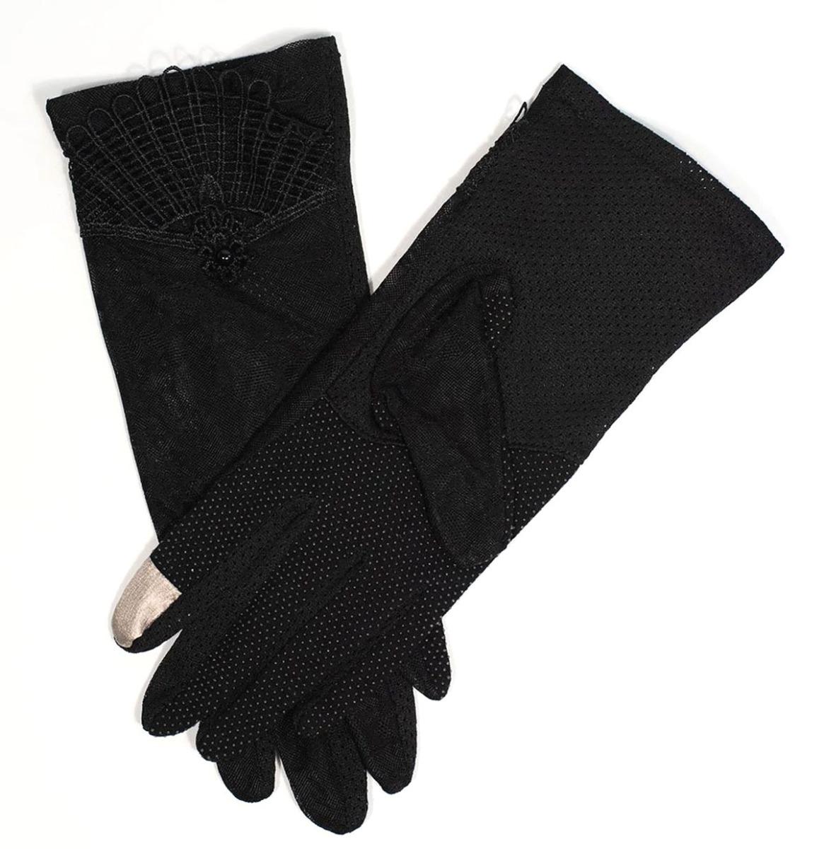 Unique Vintage Black Deco Bloemenkant Mesh Handschoentjes