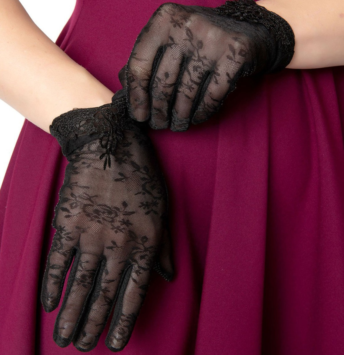 Black Mesh Embroidered Lace Wrist Gloves