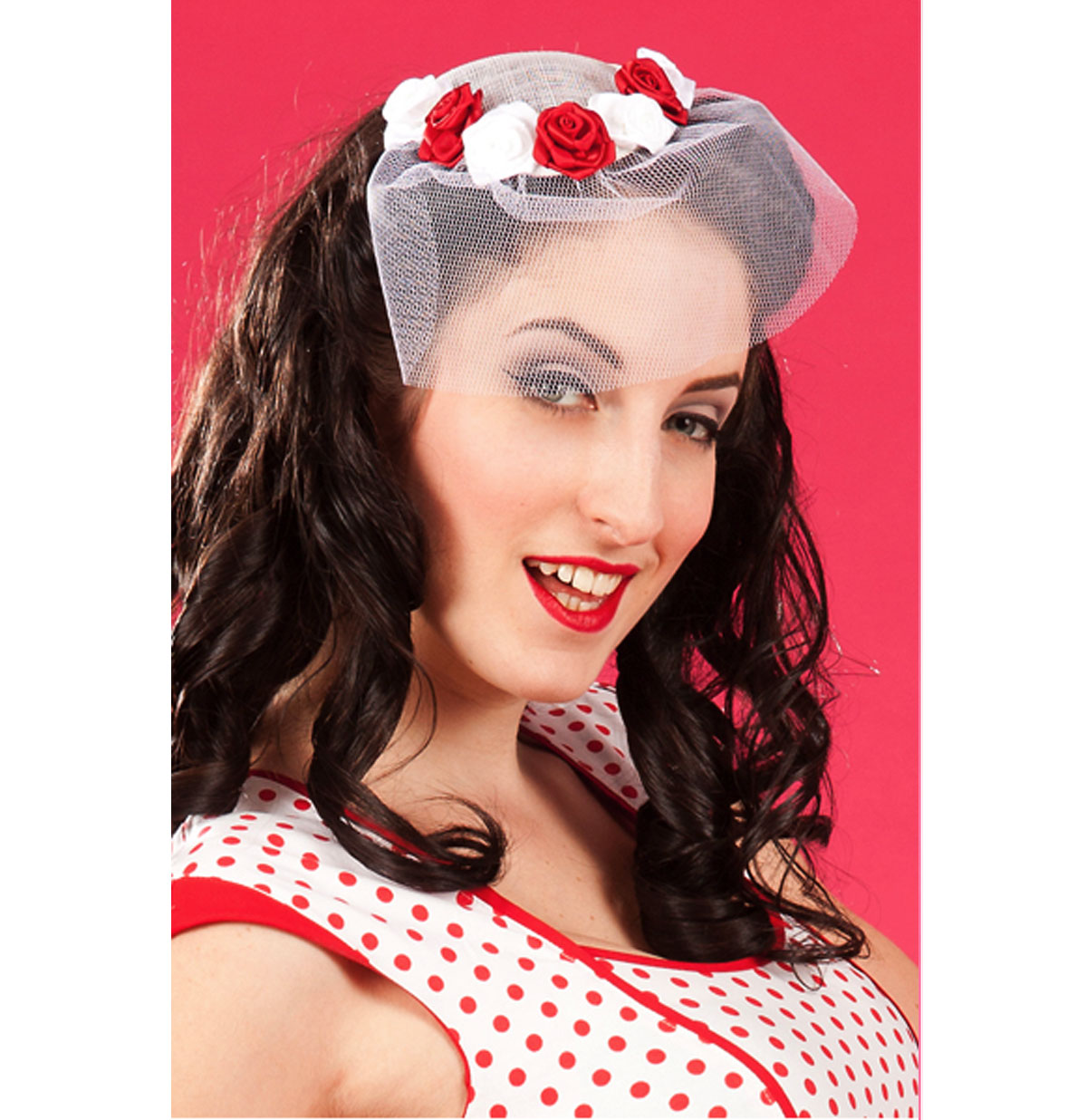 Blanche Rose Fascinator, White and Red