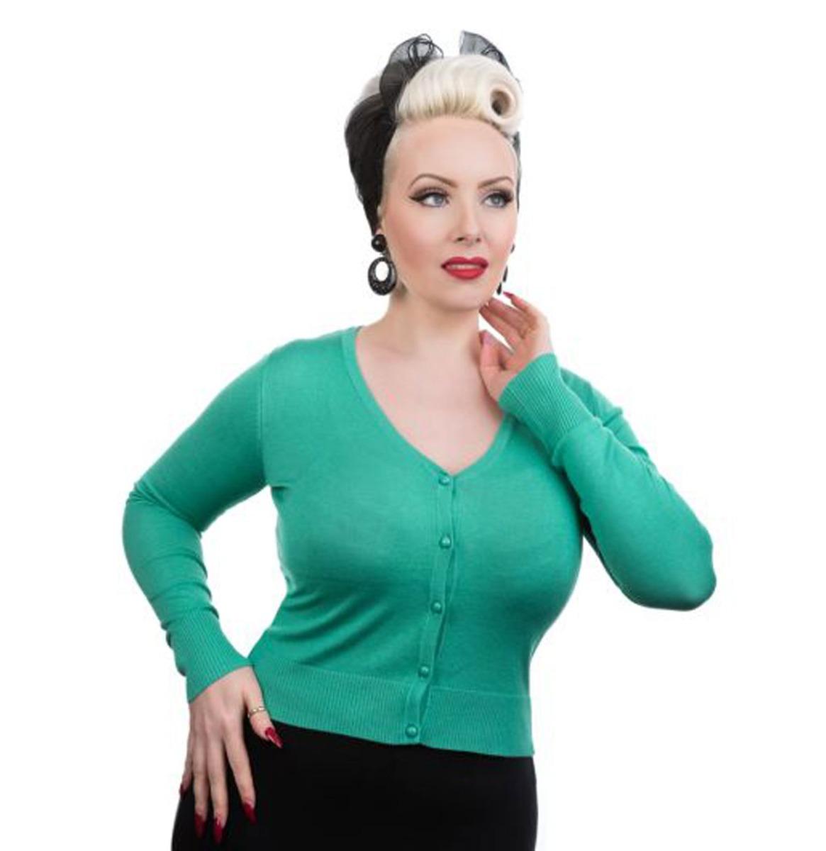 Hearts & Roses Cardigan Longsleeve Aqua Green