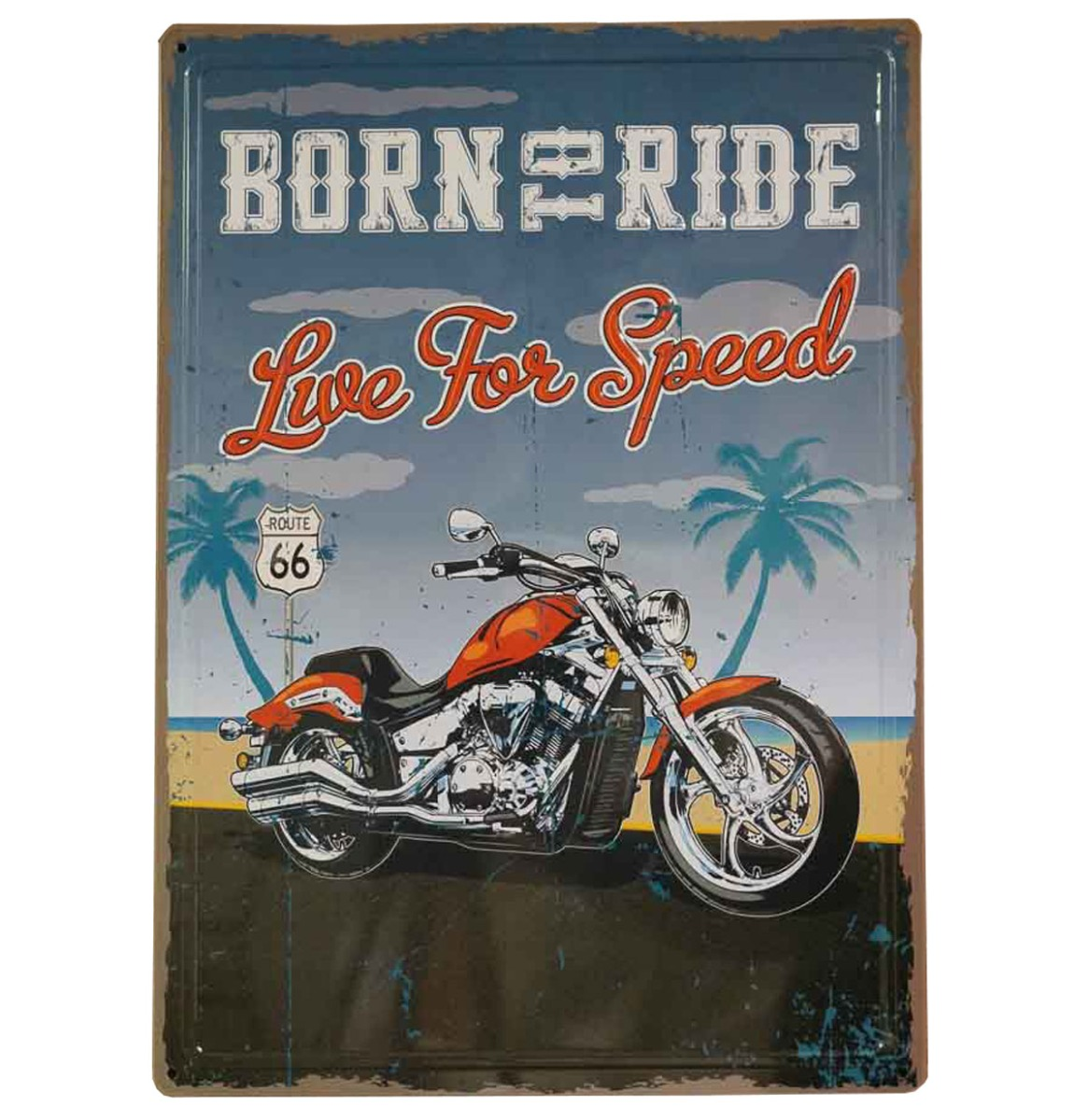 Born To Ride Live For Speed Route 66 Metalen Bord Met Reliëf 43 x 31 cm