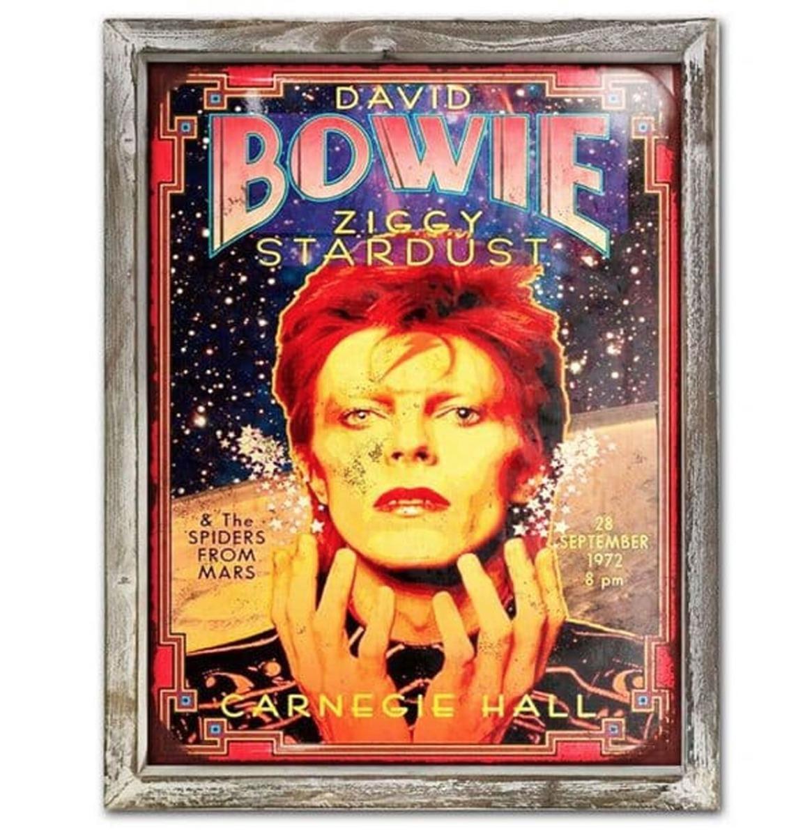 Bowie Carnegie Hall 44cm x 34cm Metalen Wandbord Met Houten Omlijsting