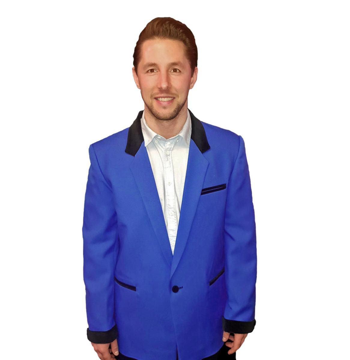 Box Jacket Konings Blauw / Zwart Fluweel