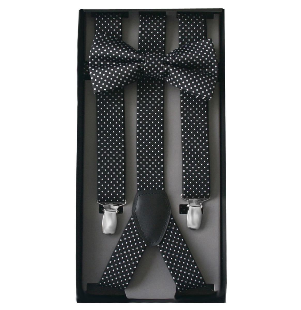 Suspender & Bow Tie Set Black - White Dots