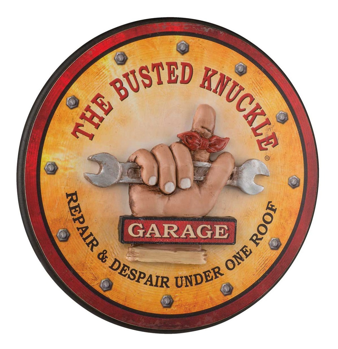 Busted Knuckle Garage Round Pub Sign