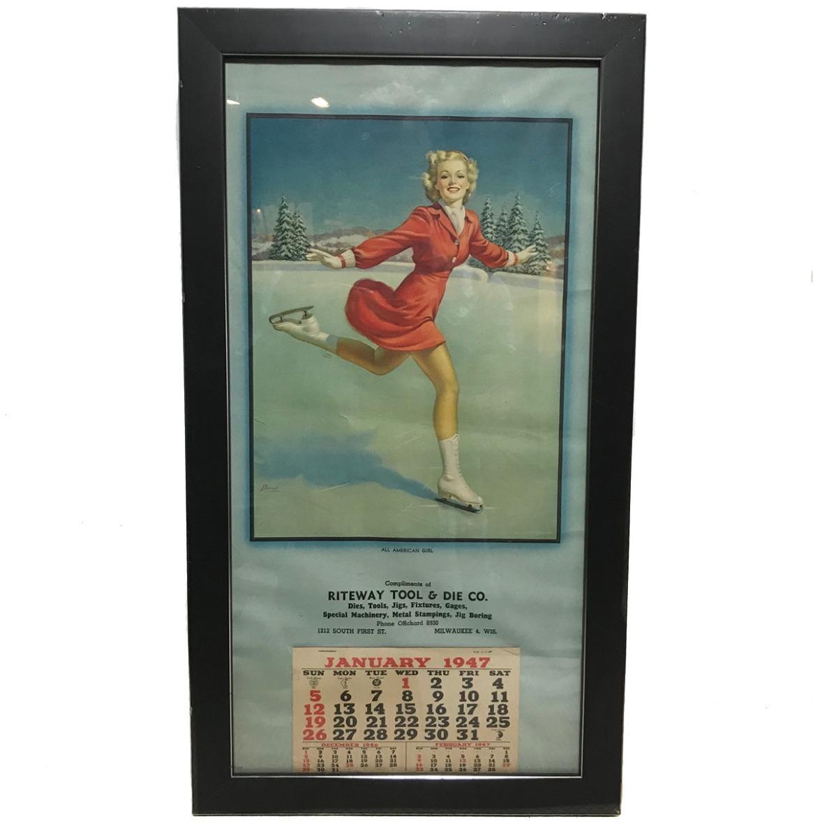 Pin Up Kalender Ingelijst 1947 - Origineel