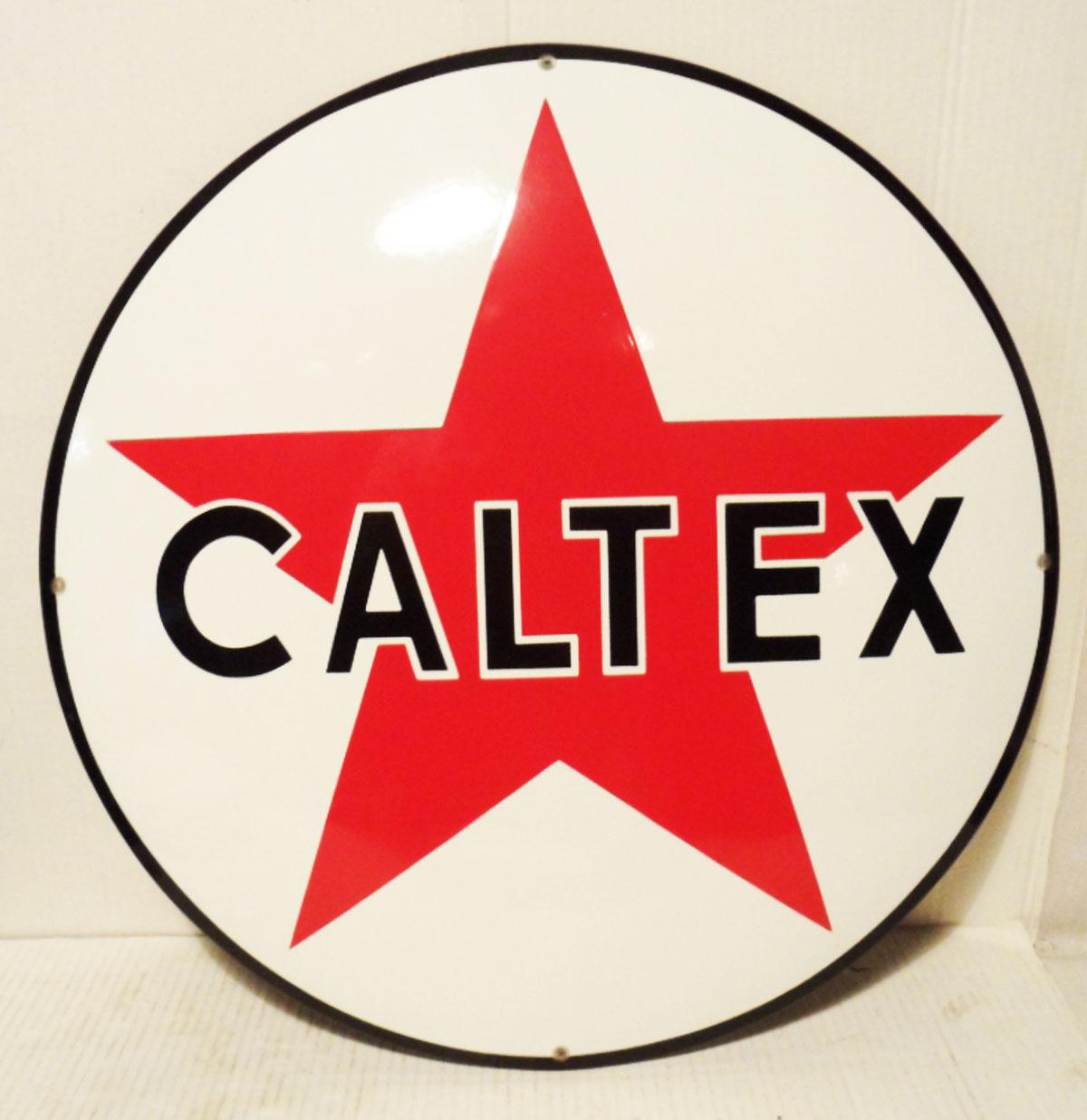 Caltex Logo Emaille Bord 50 cm