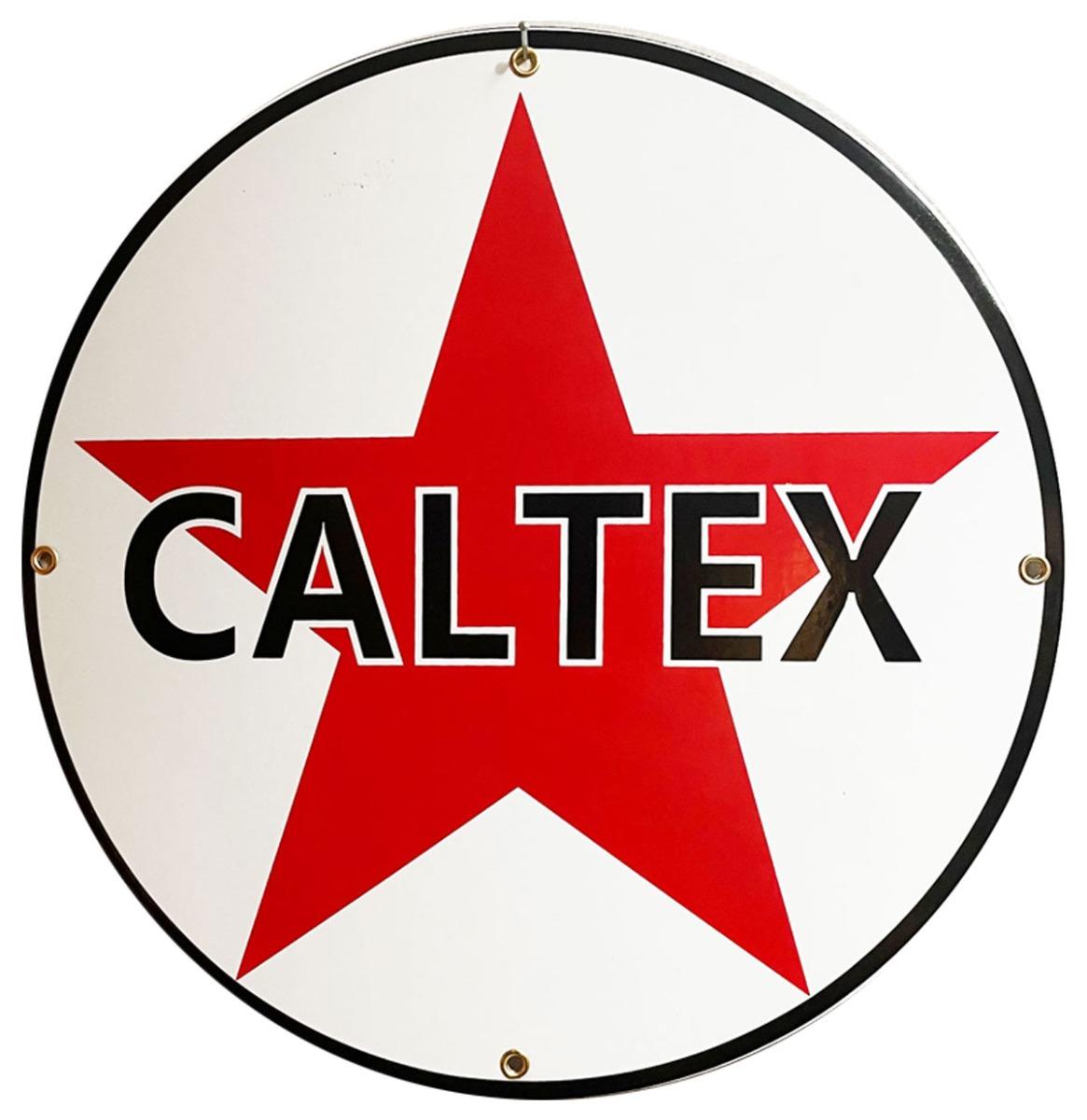 Caltex Logo Rond Emaille Bord 30 cm