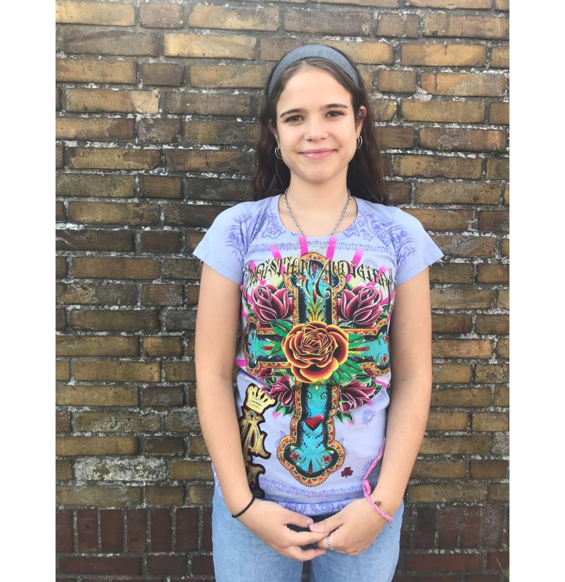 fiftiesstore Christian Audigier Cross Paars Dames T-shirt