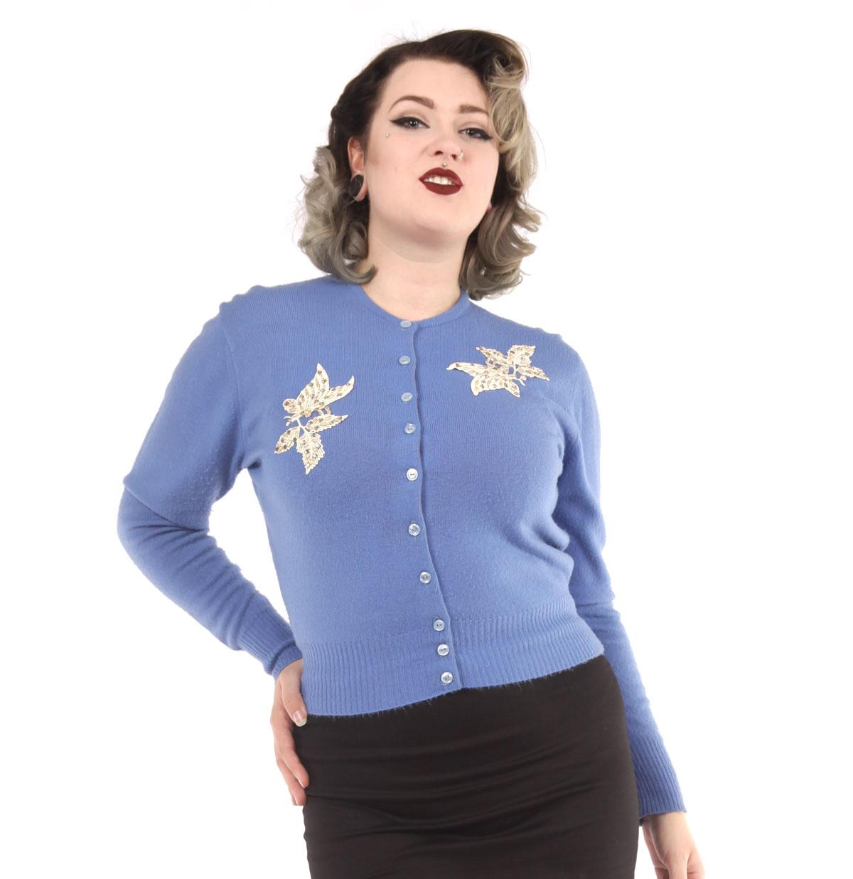 Vintage Vestje Blauw met Applique