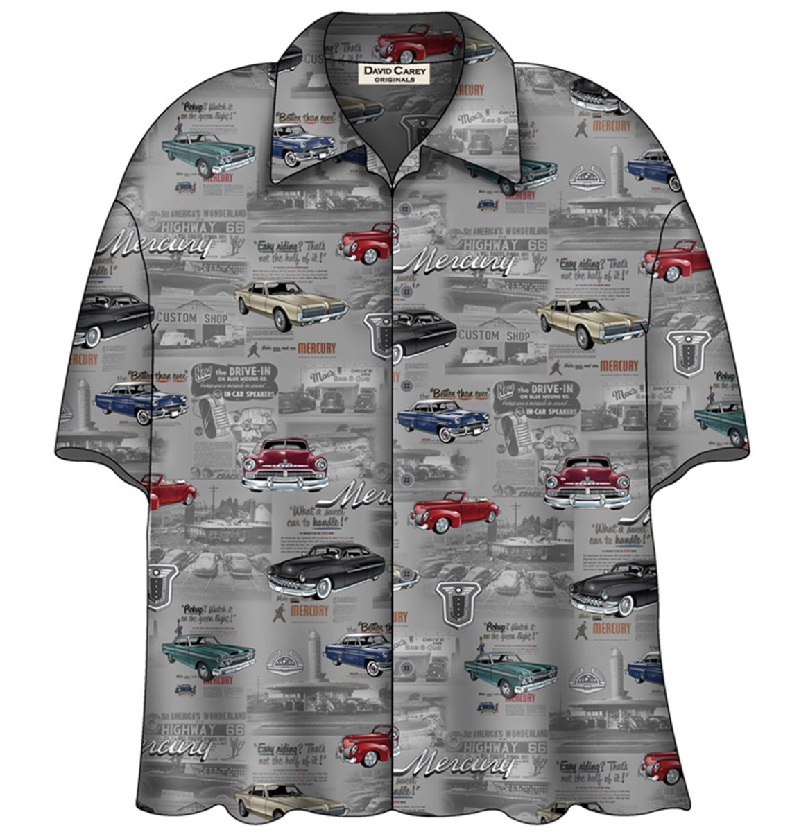 Cars Shirt Mercury Vintage Camp Shirt Grijs
