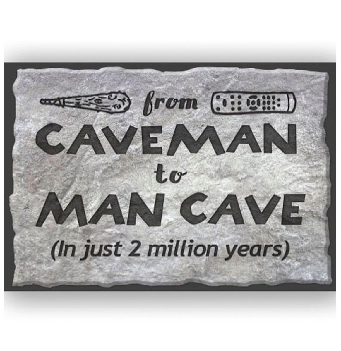 From Caveman To Mancave Metalen Bord Met Reliëf 43 x 31 cm