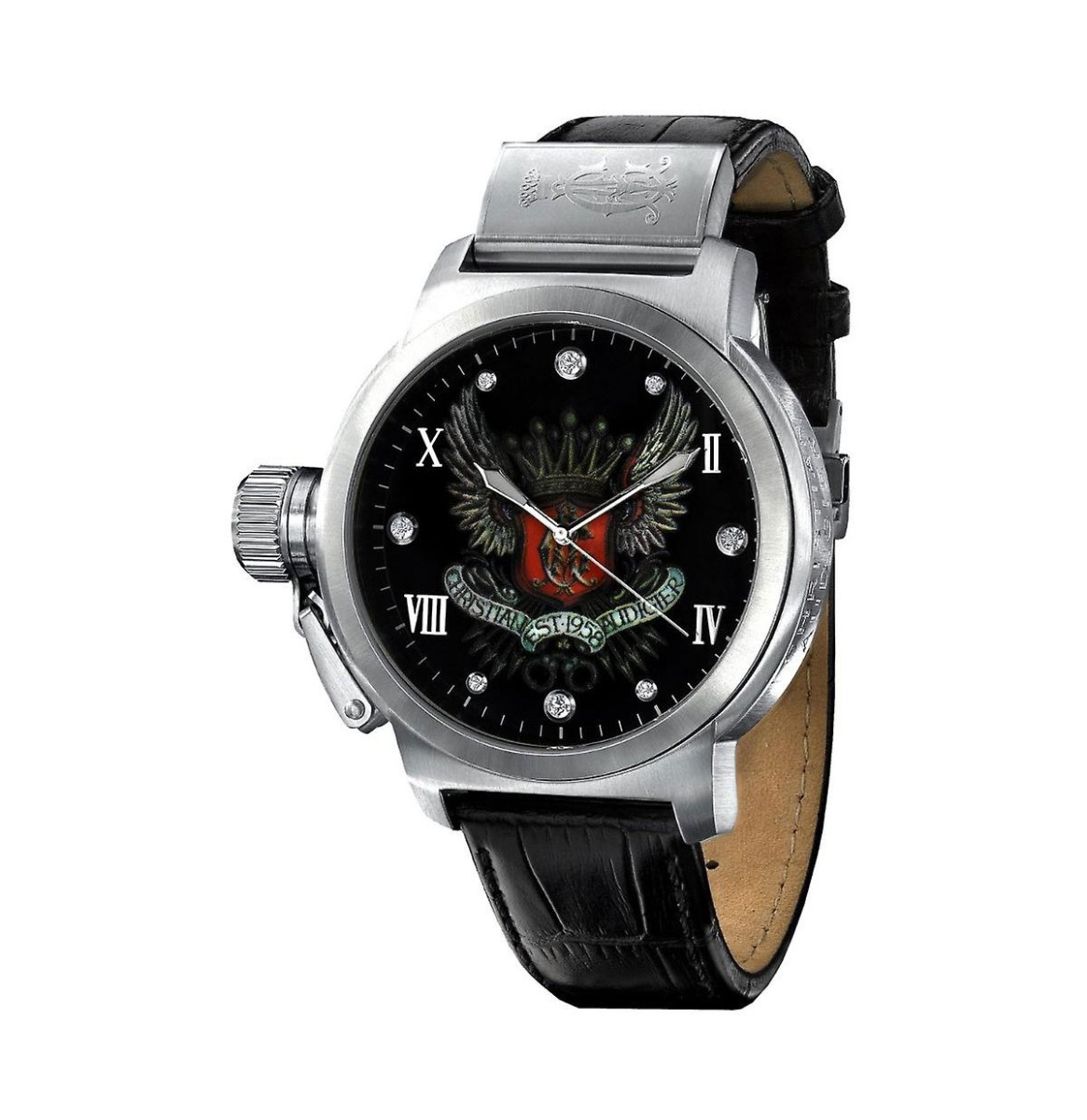Christian Audigier Mens Winged Crown Horloge
