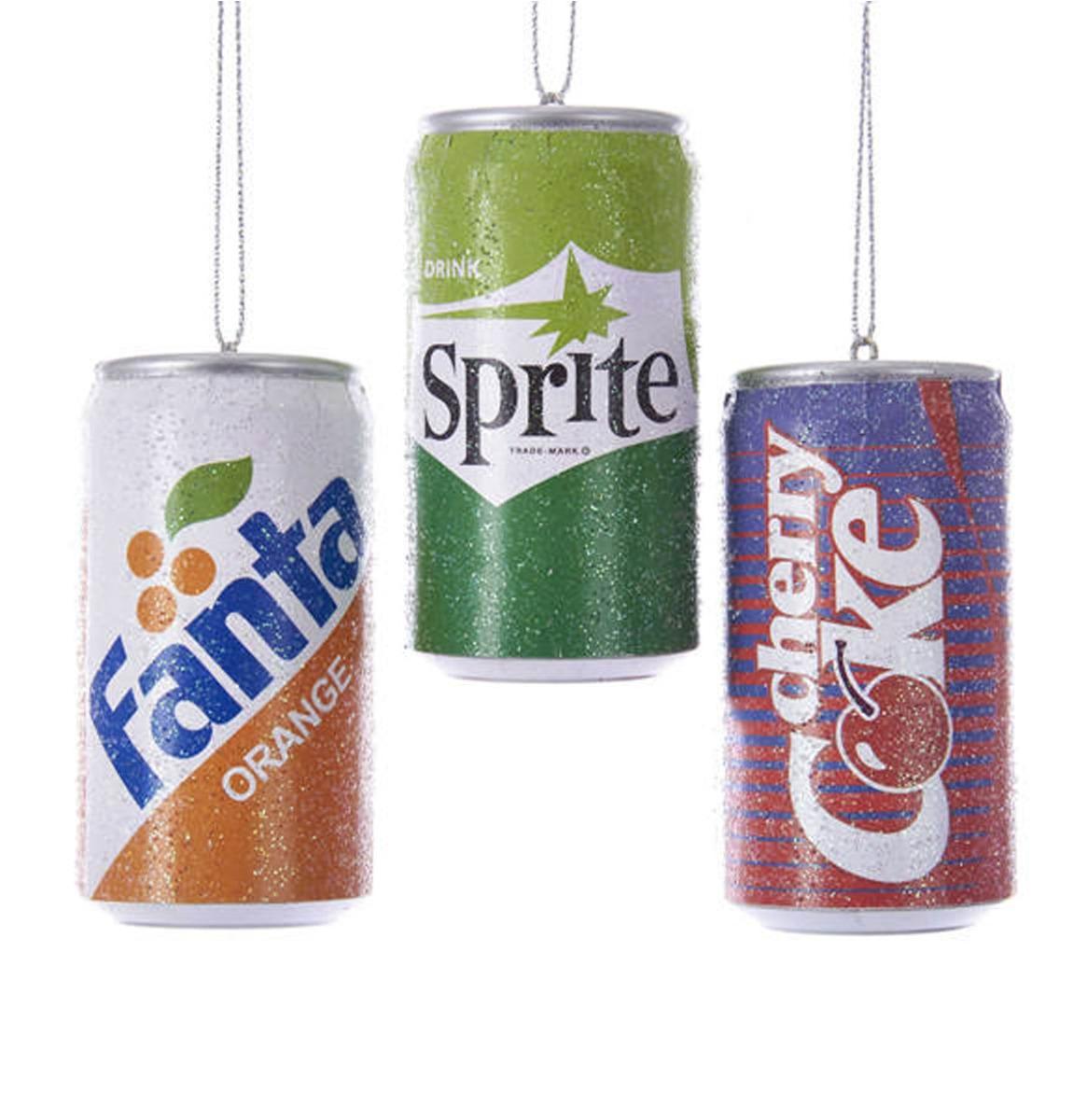 Fanta, Sprite & Cherry Coke Plastic Frisdrank Blikjes Kerst Ornamenten - Set Van 3