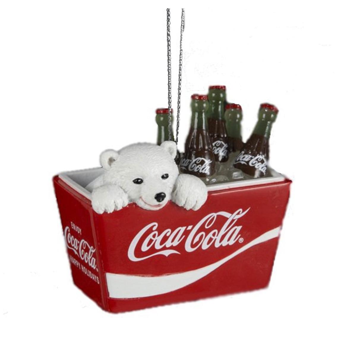 Polar Bear Cub in Coca Cola Cooler Kersthanger