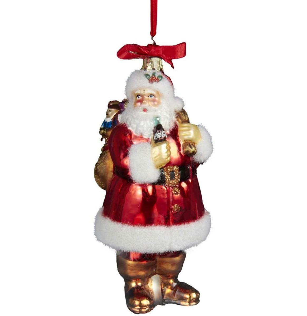 Coca-Cola Santa With Sack Glazen Kersthanger 13 cm